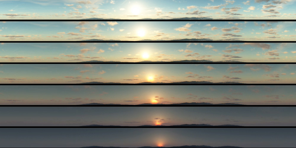 360° animation of a sunset